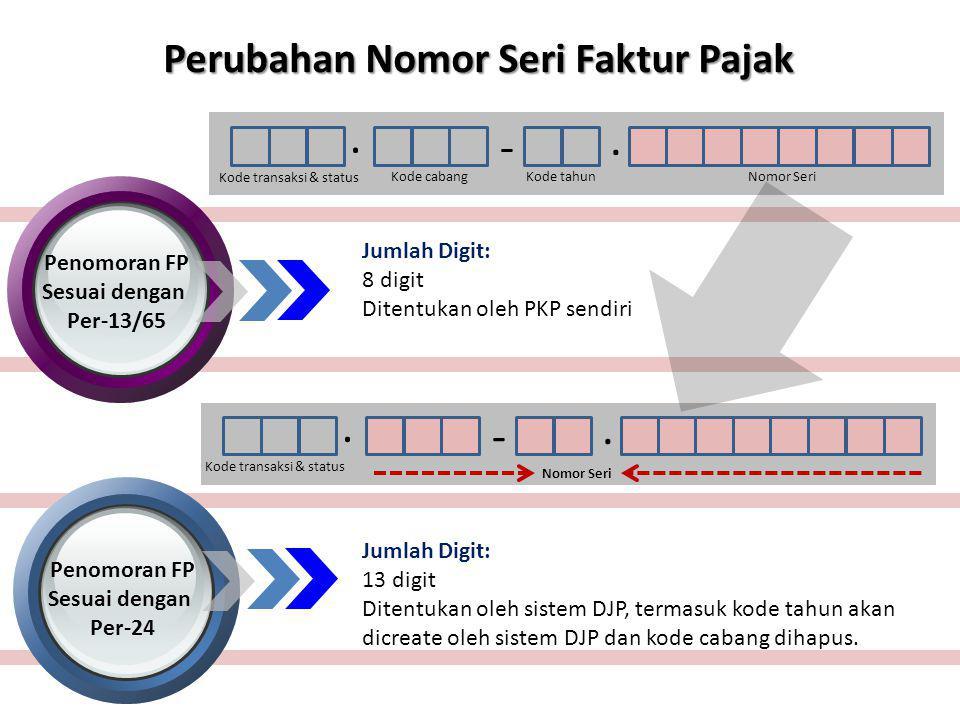 POIN PERUBAHAN NoKeteranganPER-13/PJ/2010 stdd PER- 65/PJ/2010 PER-24/PJ/2012 1Otorisasi pemberian nomor seri Nomor Urut FP ditentukan sendiri oleh PKP secara berurutan Nomor Seri FP diberikan oleh DJP dengan mekanisme yang ditentukan oleh DJP 2Syarat diberikan nomor seri FP Tidak ada syarat khusus, baik PKP ataupun non PKP dapat membuat nomor sendiri.