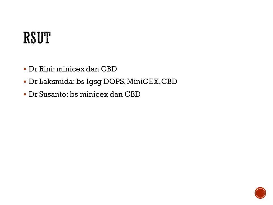  Dr Rini: minicex dan CBD  Dr Laksmida: bs lgsg DOPS, MiniCEX, CBD  Dr Susanto: bs minicex dan CBD