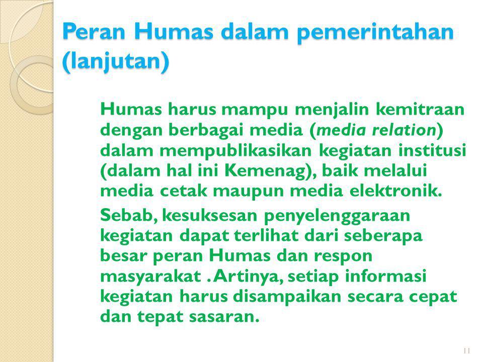 Humas harus mampu menjalin kemitraan dengan berbagai media (media relation) dalam mempublikasikan kegiatan institusi (dalam hal ini Kemenag), baik mel