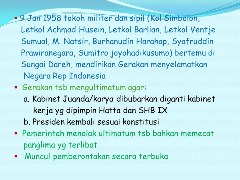  9 Jan 1958 tokoh militer dan sipil (Kol Simbolon, Letkol Achmad Husein, Letkol Barlian, Letkol Ventje Sumual, M. Natsir, Burhanudin Harahap, Syafrud