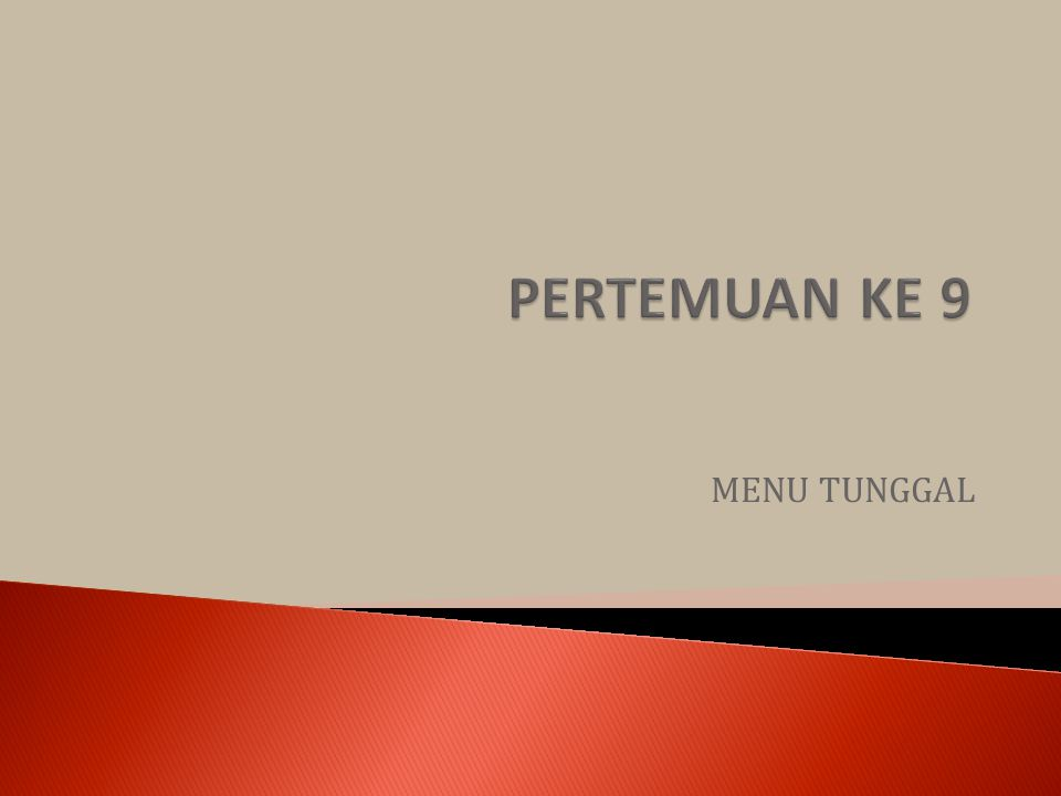 MENU TUNGGAL