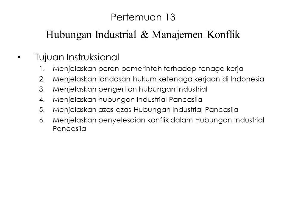 Pertemuan 13 Hubungan Industrial & Manajemen Konflik Tujuan Instruksional 1.Menjelaskan peran pemerintah terhadap tenaga kerja 2.Menjelaskan landasan