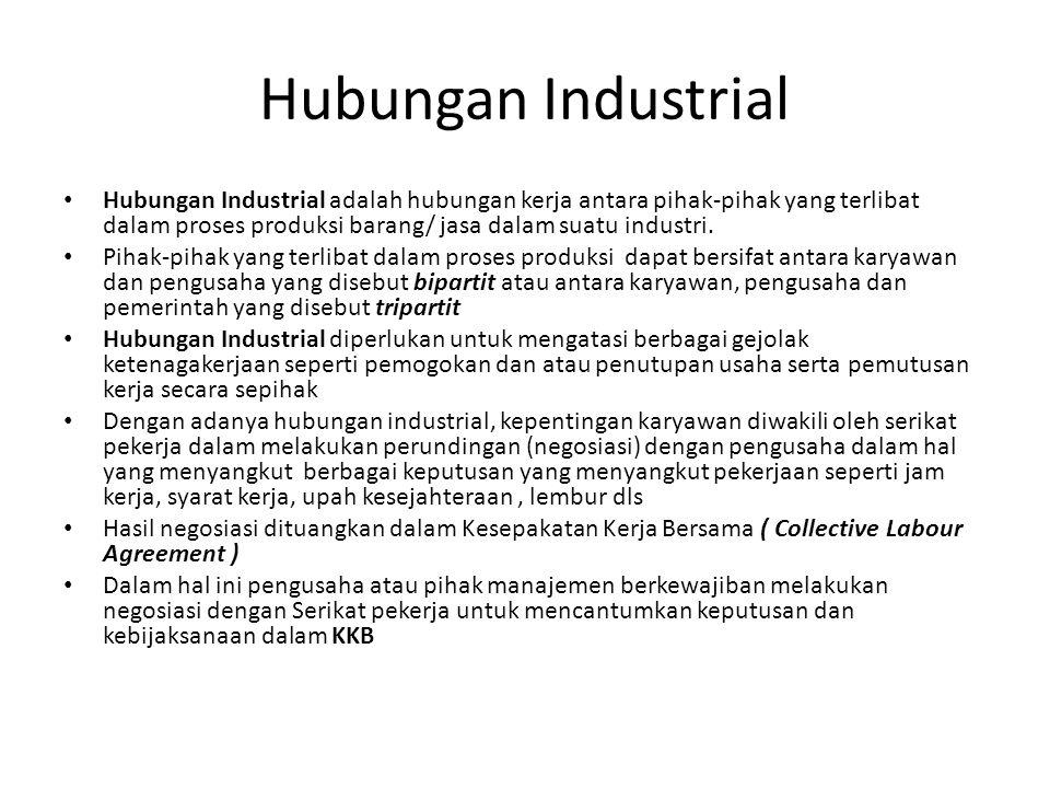 Hubungan Industrial Hubungan Industrial adalah hubungan kerja antara pihak-pihak yang terlibat dalam proses produksi barang/ jasa dalam suatu industri