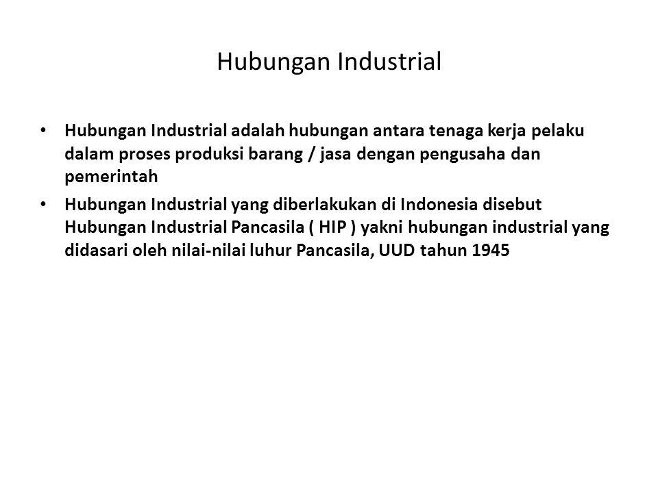 Hubungan Industrial Hubungan Industrial adalah hubungan antara tenaga kerja pelaku dalam proses produksi barang / jasa dengan pengusaha dan pemerintah