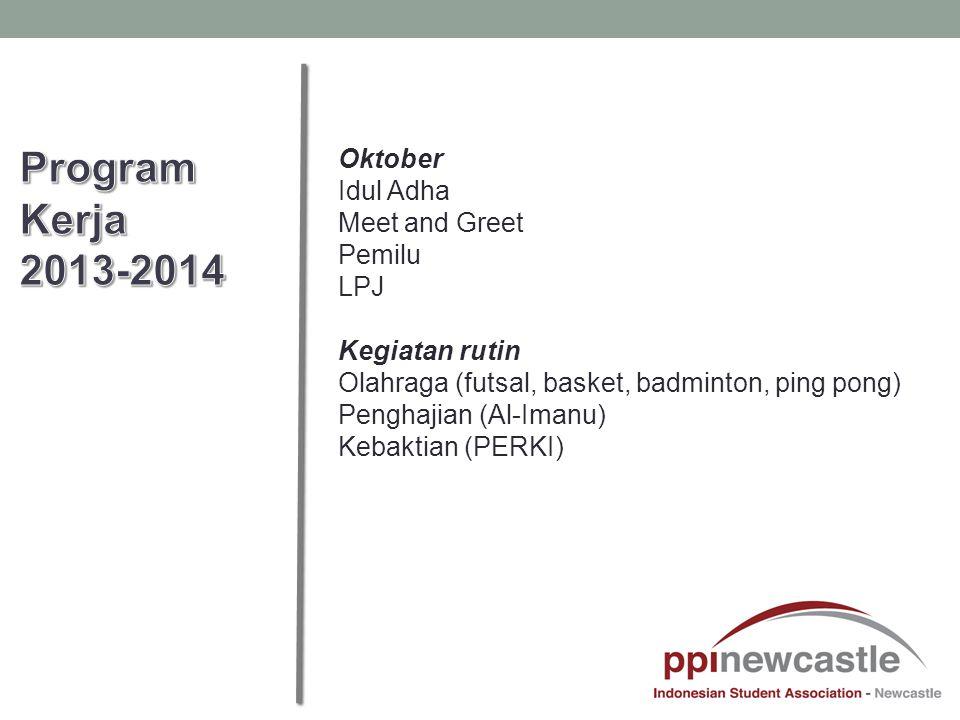 Oktober Idul Adha Meet and Greet Pemilu LPJ Kegiatan rutin Olahraga (futsal, basket, badminton, ping pong) Penghajian (Al-Imanu) Kebaktian (PERKI)