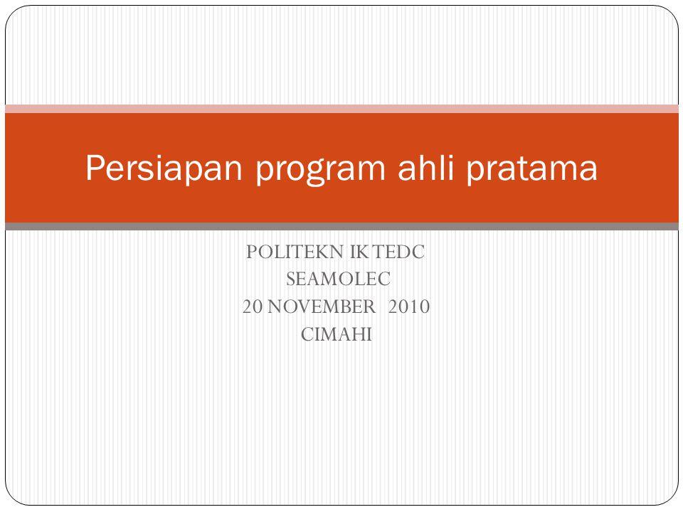 DISKUSI DI TEDC Kelompok Kepala Sekolah (Manajemen dan Proses Seleksi)  Manajemen  Proses Seleksi Penyusunan Kurikulum (Kurikulum dan Monev)  Kurikulum  Monitoring dan Evaluasi