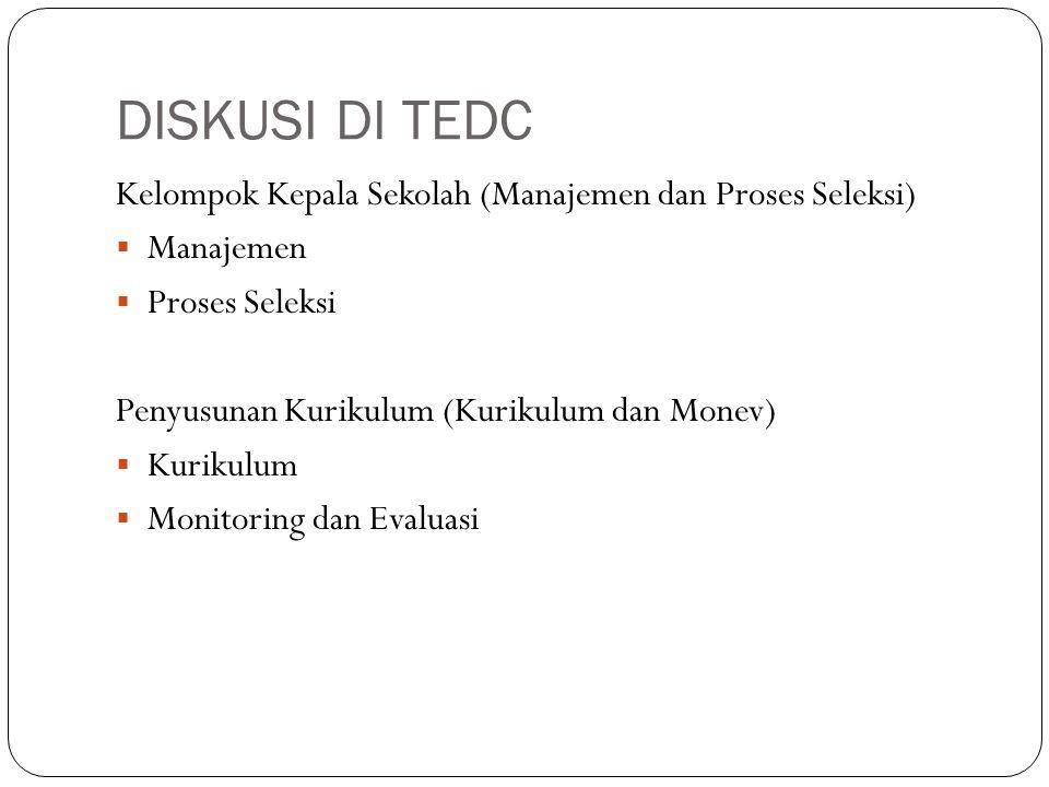 DISKUSI DI TEDC Kelompok Kepala Sekolah (Manajemen dan Proses Seleksi)  Manajemen  Proses Seleksi Penyusunan Kurikulum (Kurikulum dan Monev)  Kurik