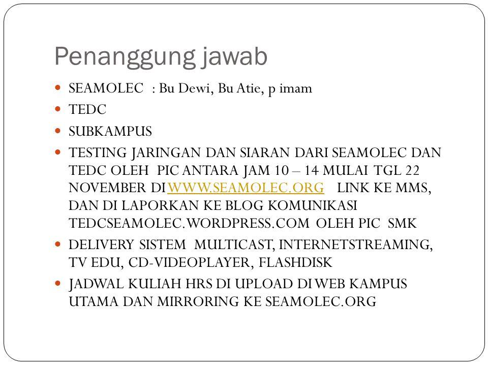 Penanggung jawab SEAMOLEC : Bu Dewi, Bu Atie, p imam TEDC SUBKAMPUS TESTING JARINGAN DAN SIARAN DARI SEAMOLEC DAN TEDC OLEH PIC ANTARA JAM 10 – 14 MUL