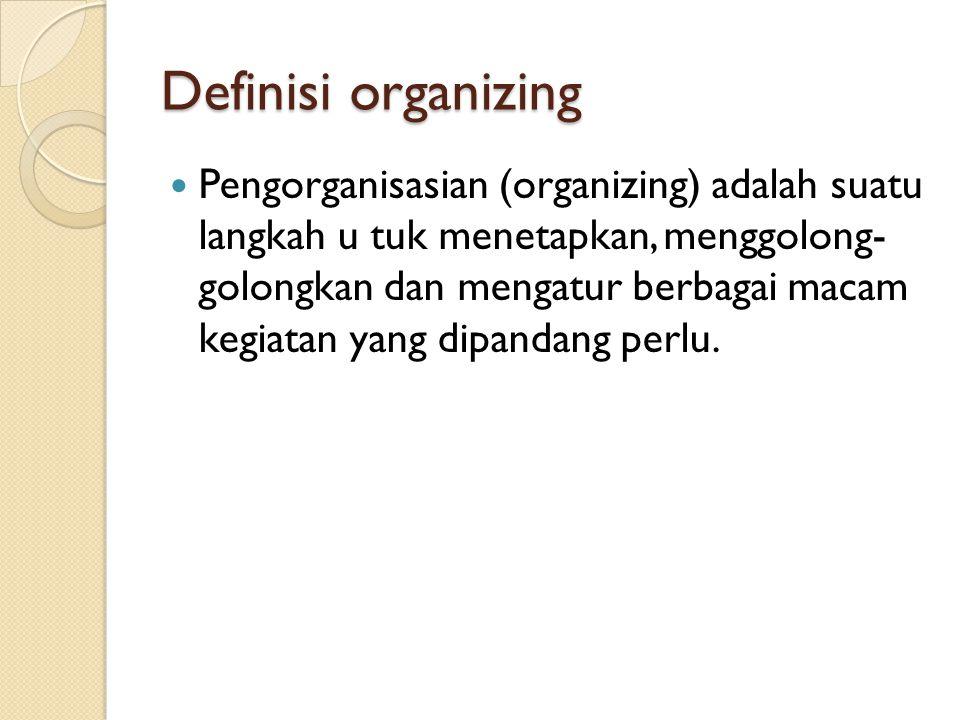 Definisi organizing Pengorganisasian (organizing) adalah suatu langkah u tuk menetapkan, menggolong- golongkan dan mengatur berbagai macam kegiatan ya