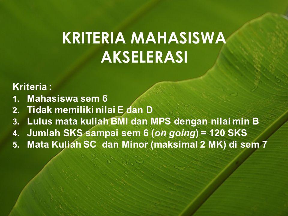 KRITERIA MAHASISWA AKSELERASI Kriteria : 1. Mahasiswa sem 6 2.
