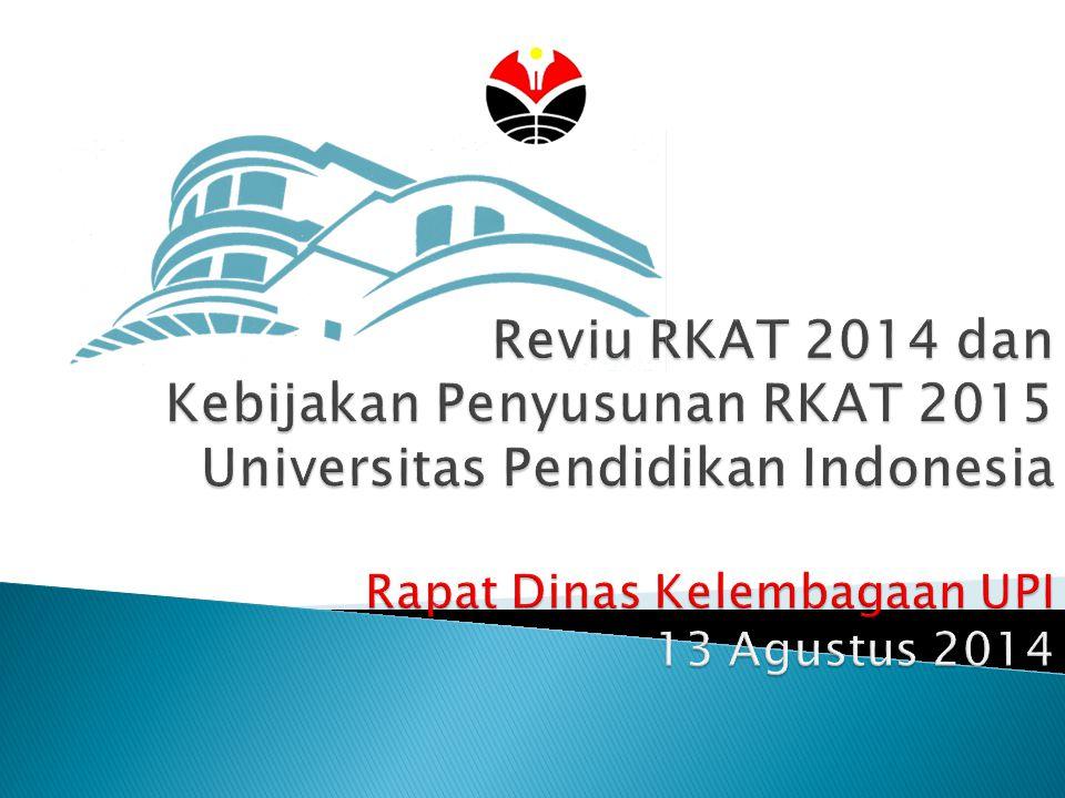  Reviu Implementasi RKAT 2014  Kinerja UPI 2014  Target Renstra 2015  Implikasi pada Pengembangan Program dan Kegiatan 2015 2 Outline