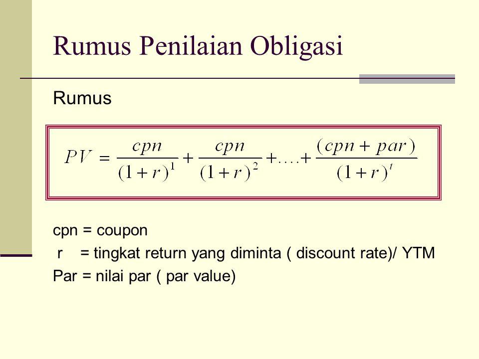 Rumus cpn = coupon r = tingkat return yang diminta ( discount rate)/ YTM Par = nilai par ( par value) Rumus Penilaian Obligasi