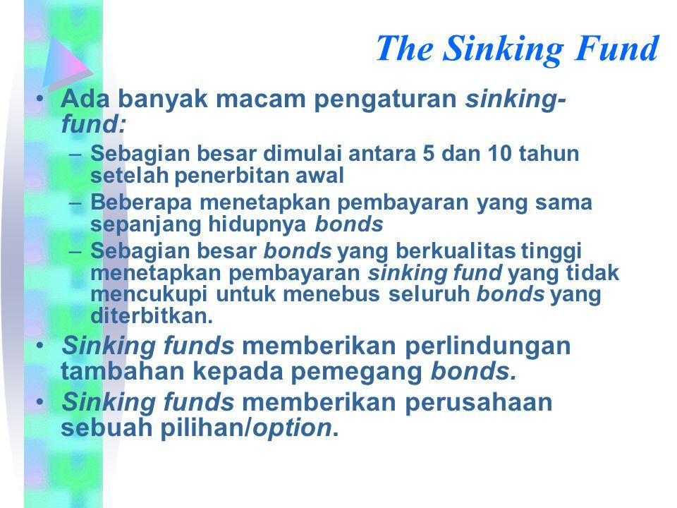 The Sinking Fund Ada banyak macam pengaturan sinking- fund: –Sebagian besar dimulai antara 5 dan 10 tahun setelah penerbitan awal –Beberapa menetapkan