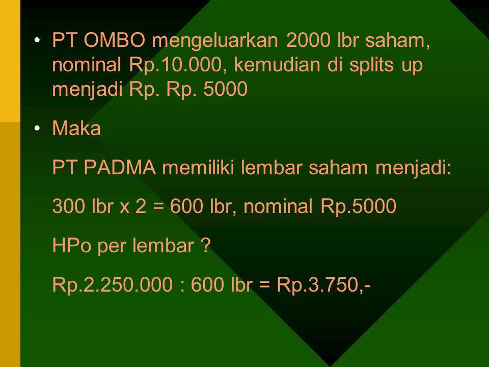 PT OMBO mengeluarkan 2000 lbr saham, nominal Rp.10.000, kemudian di splits up menjadi Rp. Rp. 5000 Maka PT PADMA memiliki lembar saham menjadi: 300 lb