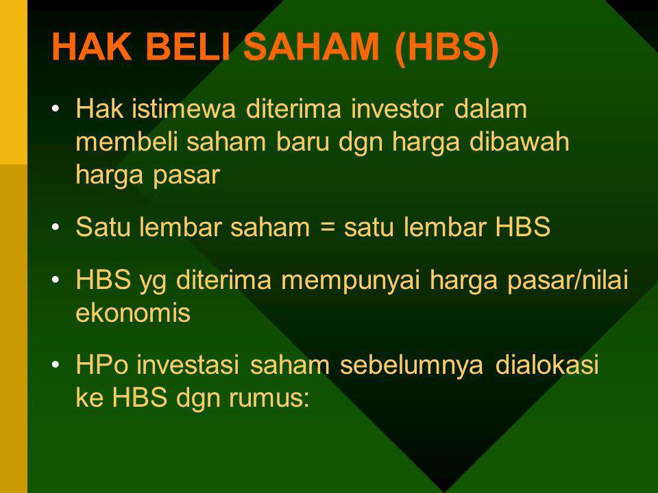 HAK BELI SAHAM (HBS) Hak istimewa diterima investor dalam membeli saham baru dgn harga dibawah harga pasar Satu lembar saham = satu lembar HBS HBS yg