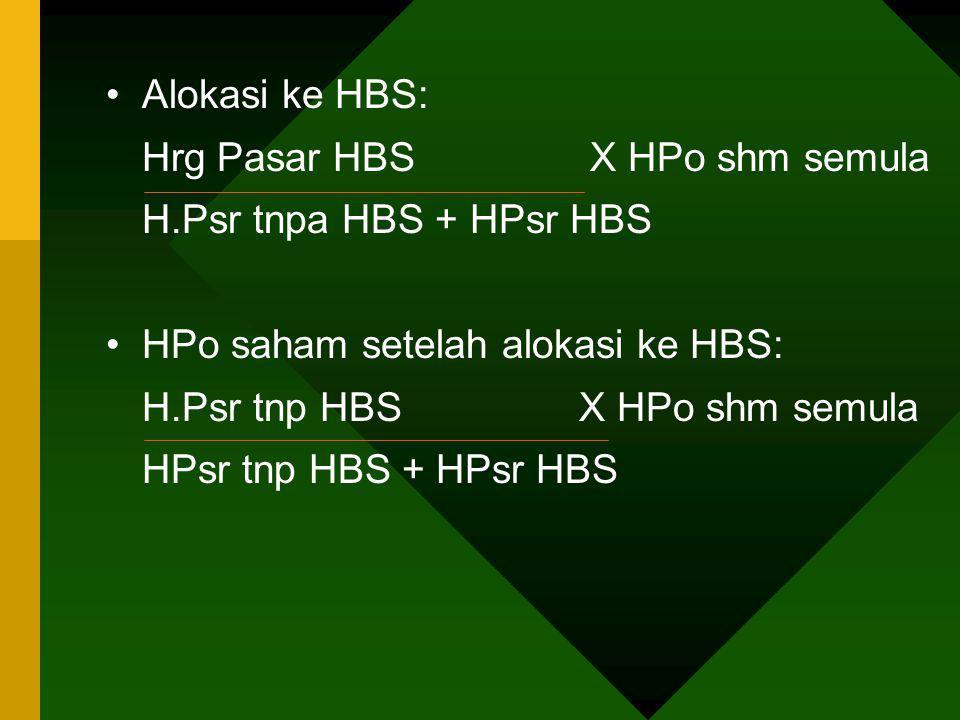 Alokasi ke HBS: Hrg Pasar HBS X HPo shm semula H.Psr tnpa HBS + HPsr HBS HPo saham setelah alokasi ke HBS: H.Psr tnp HBS X HPo shm semula HPsr tnp HBS
