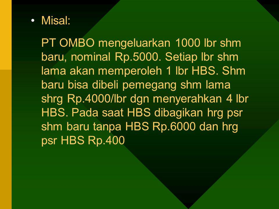 Misal: PT OMBO mengeluarkan 1000 lbr shm baru, nominal Rp.5000. Setiap lbr shm lama akan memperoleh 1 lbr HBS. Shm baru bisa dibeli pemegang shm lama