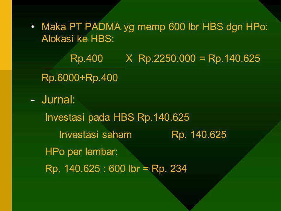 Maka PT PADMA yg memp 600 lbr HBS dgn HPo: Alokasi ke HBS: Rp.400 X Rp.2250.000 = Rp.140.625 Rp.6000+Rp.400 -Jurnal: Investasi pada HBS Rp.140.625 Inv