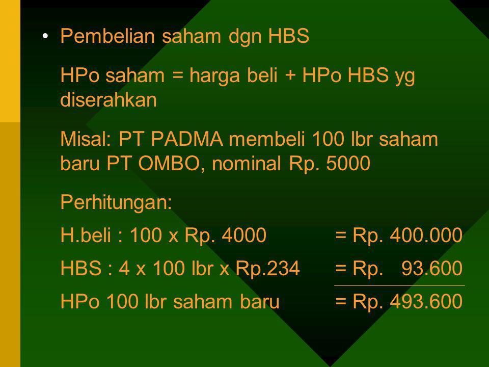 Pembelian saham dgn HBS HPo saham = harga beli + HPo HBS yg diserahkan Misal: PT PADMA membeli 100 lbr saham baru PT OMBO, nominal Rp. 5000 Perhitunga