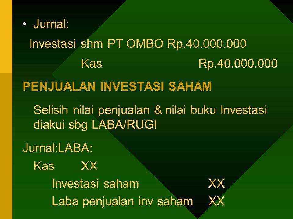 Jurnal: Investasi shm PT OMBO Rp.40.000.000 KasRp.40.000.000 PENJUALAN INVESTASI SAHAM Selisih nilai penjualan & nilai buku Investasi diakui sbg LABA/
