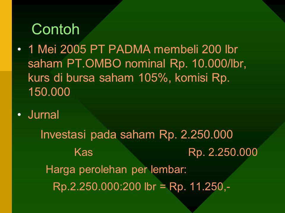 Contoh 1 Mei 2005 PT PADMA membeli 200 lbr saham PT.OMBO nominal Rp. 10.000/lbr, kurs di bursa saham 105%, komisi Rp. 150.000 Jurnal Investasi pada sa