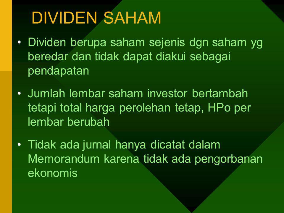 DIVIDEN SAHAM Dividen berupa saham sejenis dgn saham yg beredar dan tidak dapat diakui sebagai pendapatan Jumlah lembar saham investor bertambah tetap