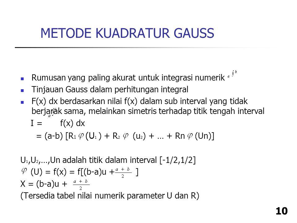 10 Rumusan yang paling akurat untuk integrasi numerik Tinjauan Gauss dalam perhitungan integral F(x) dx berdasarkan nilai f(x) dalam sub interval yang tidak berjarak sama, melainkan simetris terhadap titik tengah interval I = f(x) dx = (a-b) [R 1 (U 1 ) + R 2 (u 2 ) + … + Rn (Un)] U 1,U 2,…,Un adalah titik dalam interval [-1/2,1/2] (U) = f(x) = f[(b-a)u + ] X = (b-a)u + (Tersedia tabel nilai numerik parameter U dan R) METODE KUADRATUR GAUSS