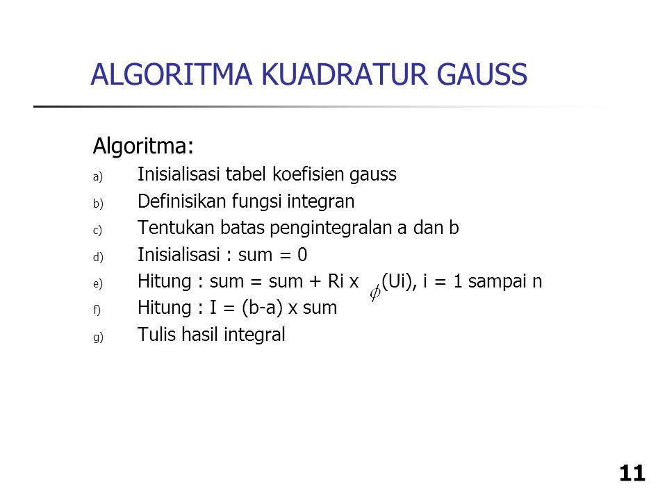 11 ALGORITMA KUADRATUR GAUSS Algoritma: a) Inisialisasi tabel koefisien gauss b) Definisikan fungsi integran c) Tentukan batas pengintegralan a dan b d) Inisialisasi : sum = 0 e) Hitung : sum = sum + Ri x (Ui), i = 1 sampai n f) Hitung : I = (b-a) x sum g) Tulis hasil integral