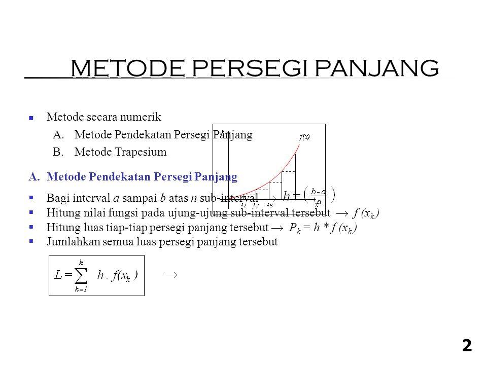 2 Metode secara numerik A.Metode Pendekatan Persegi Panjang B.Metode Trapesium A.Metode Pendekatan Persegi Panjang  Bagi interval a sampai b atas n sub-interval   Hitung nilai fungsi pada ujung-ujung sub-interval tersebut  f (x k )  Hitung luas tiap-tiap persegi panjang tersebut  P k = h * f (x k )  Jumlahkan semua luas persegi panjang tersebut  METODE PERSEGI PANJANG
