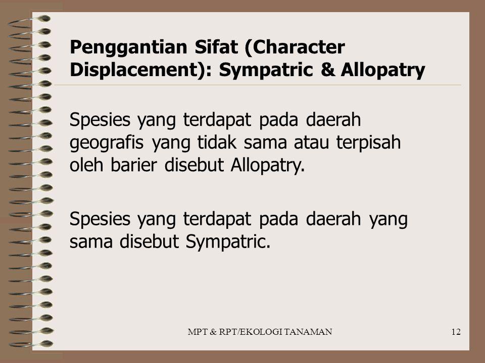 MPT & RPT/EKOLOGI TANAMAN12 Penggantian Sifat (Character Displacement): Sympatric & Allopatry Spesies yang terdapat pada daerah geografis yang tidak sama atau terpisah oleh barier disebut Allopatry.