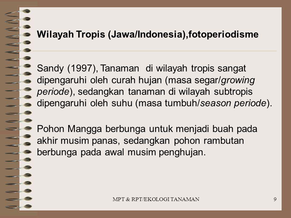 MPT & RPT/EKOLOGI TANAMAN9 Wilayah Tropis (Jawa/Indonesia),fotoperiodisme Sandy (1997), Tanaman di wilayah tropis sangat dipengaruhi oleh curah hujan (masa segar/growing periode), sedangkan tanaman di wilayah subtropis dipengaruhi oleh suhu (masa tumbuh/season periode).