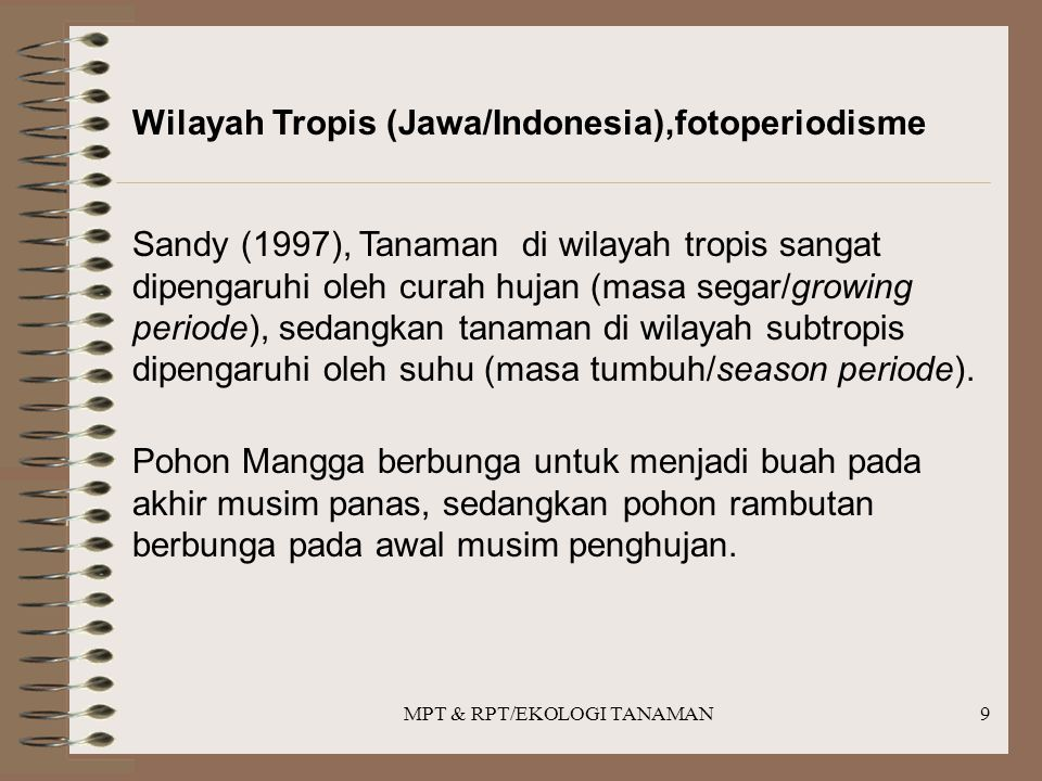 MPT & RPT/EKOLOGI TANAMAN9 Wilayah Tropis (Jawa/Indonesia),fotoperiodisme Sandy (1997), Tanaman di wilayah tropis sangat dipengaruhi oleh curah hujan