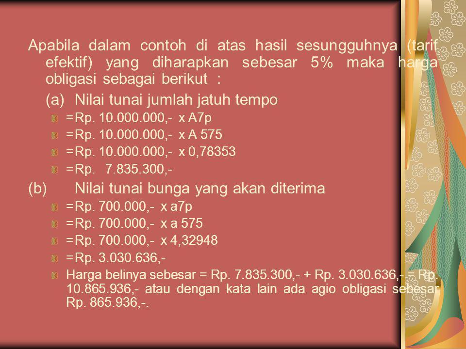 Apabila dalam contoh di atas hasil sesungguhnya (tarif efektif) yang diharapkan sebesar 5% maka harga obligasi sebagai berikut : (a)Nilai tunai jumlah