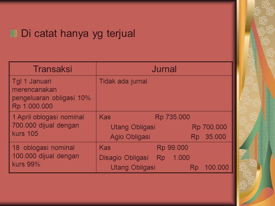 Di catat hanya yg terjual TransaksiJurnal Tgl 1 Januari merencanakan pengeluaran obligasi 10% Rp 1.000.000 Tidak ada jurnal 1 April oblogasi nominal 7
