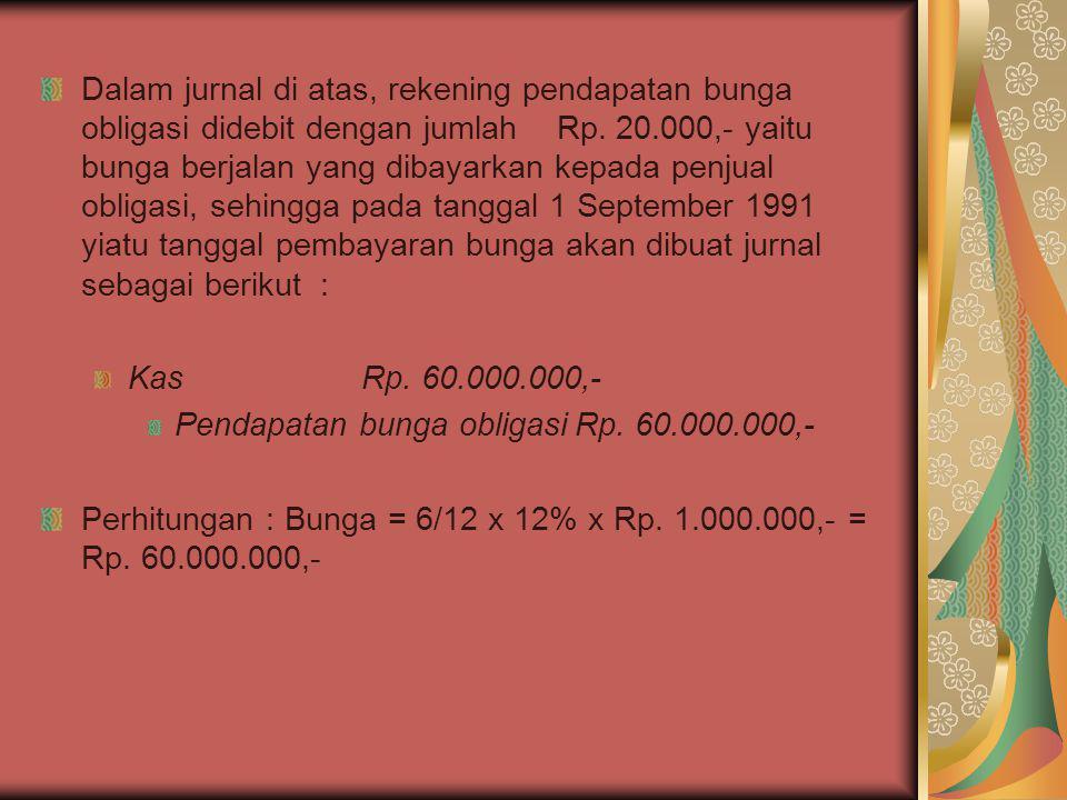 Dalam jurnal di atas, rekening pendapatan bunga obligasi didebit dengan jumlah Rp. 20.000,- yaitu bunga berjalan yang dibayarkan kepada penjual obliga