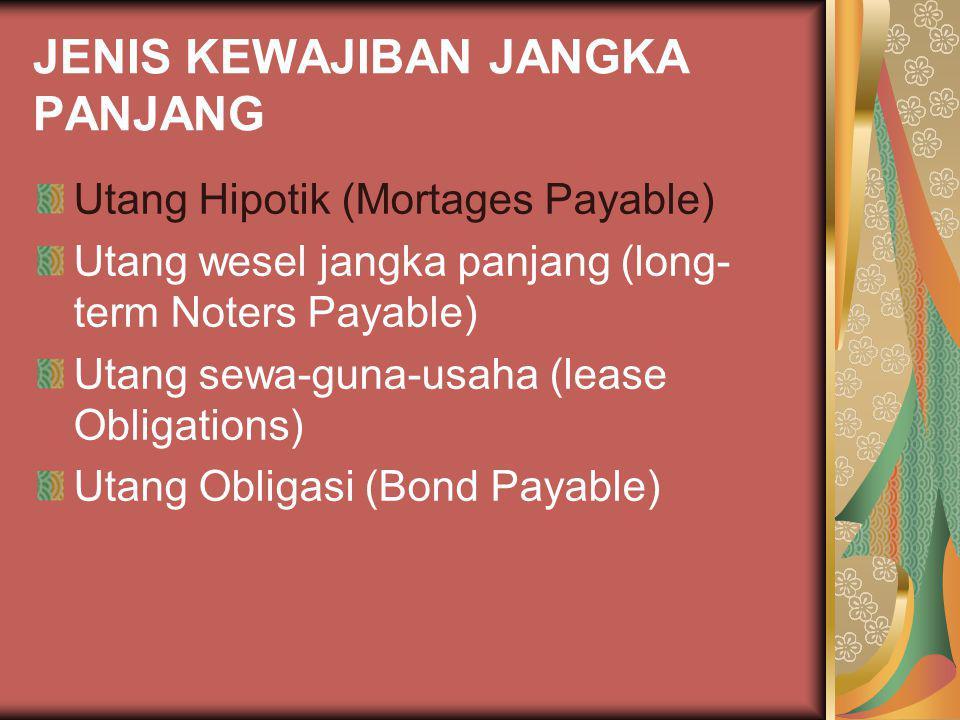 JENIS KEWAJIBAN JANGKA PANJANG Utang Hipotik (Mortages Payable) Utang wesel jangka panjang (long- term Noters Payable) Utang sewa-guna-usaha (lease Ob