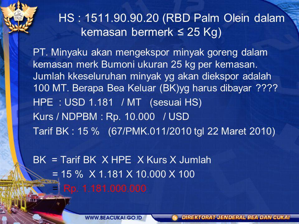 HS : 1511.90.90.20 (RBD Palm Olein dalam kemasan bermerk ≤ 25 Kg) PT. Minyaku akan mengekspor minyak goreng dalam kemasan merk Bumoni ukuran 25 kg per