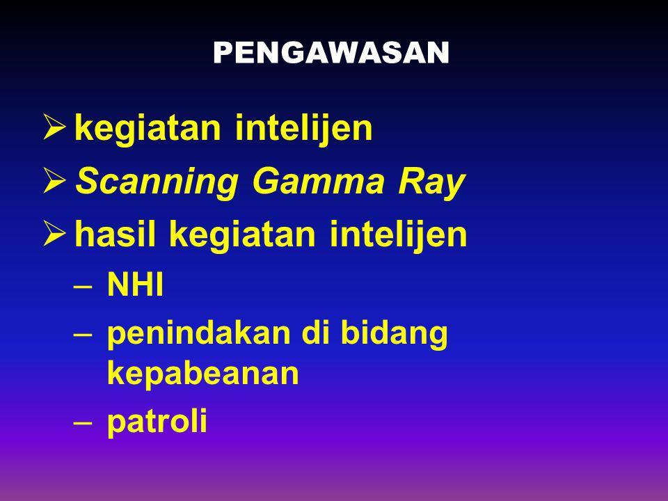 PENGAWASAN  kegiatan intelijen  Scanning Gamma Ray  hasil kegiatan intelijen –NHI –penindakan di bidang kepabeanan –patroli