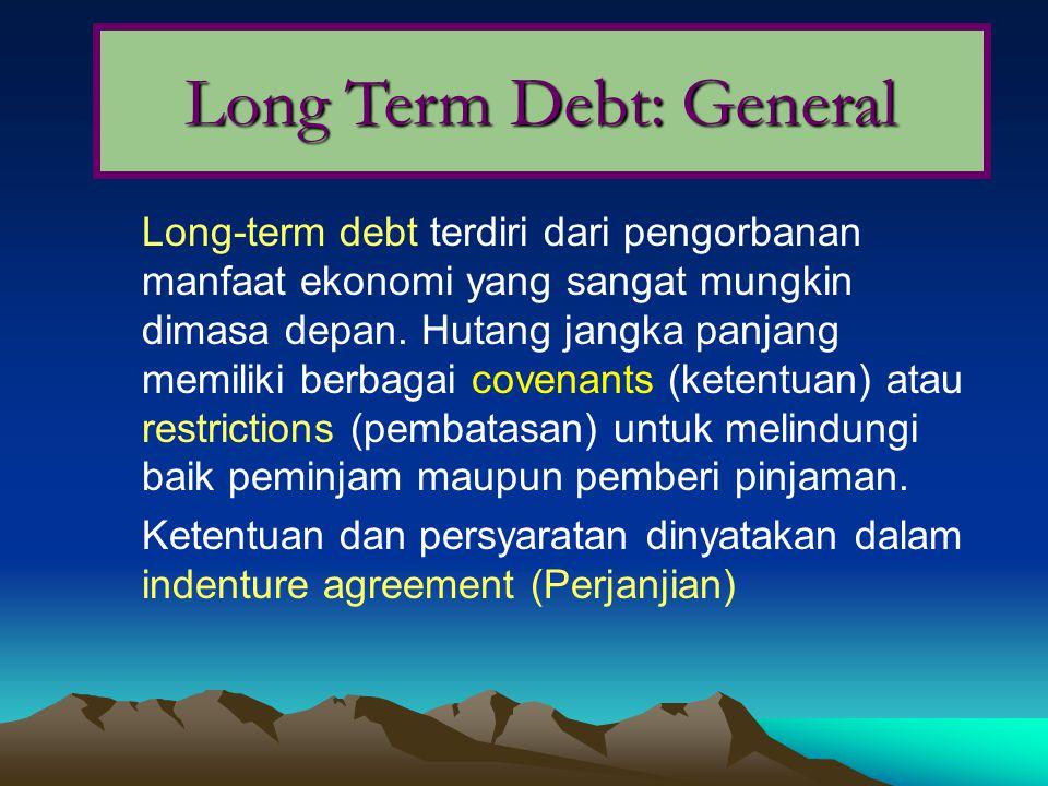 Long-term debt terdiri dari pengorbanan manfaat ekonomi yang sangat mungkin dimasa depan. Hutang jangka panjang memiliki berbagai covenants (ketentuan