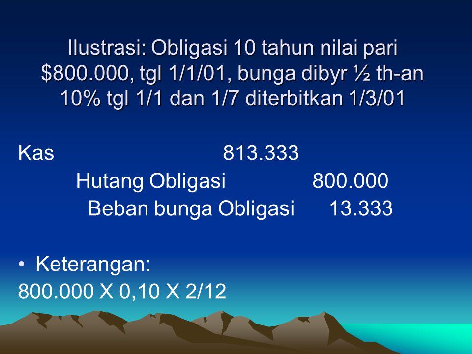 Ilustrasi: Obligasi 10 tahun nilai pari $800.000, tgl 1/1/01, bunga dibyr ½ th-an 10% tgl 1/1 dan 1/7 diterbitkan 1/3/01 Kas 813.333 Hutang Obligasi 8