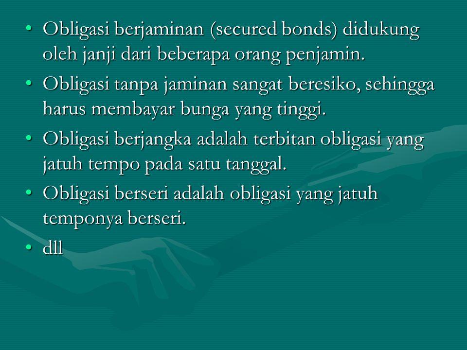 Penerbit Bond Pemegang Oblg lend cash 1.Sertifikat oblg 2.
