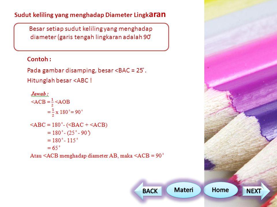 Sudut keliling yang menghadap Diameter Lingk aran Contoh : Pada gambar disamping, besar <BAC = 25 ̊.