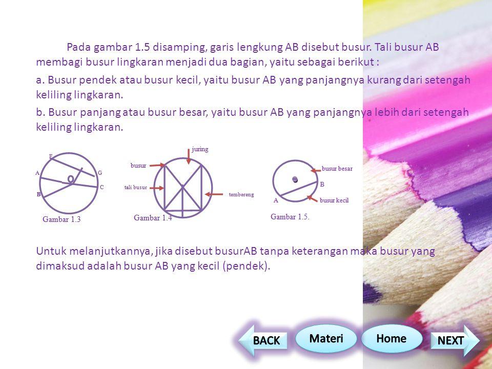Pada gambar 1.5 disamping, garis lengkung AB disebut busur.