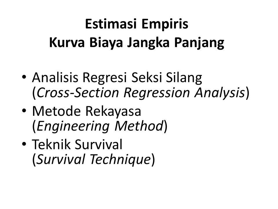 Estimasi Empiris Kurva Biaya Jangka Panjang Analisis Regresi Seksi Silang (Cross-Section Regression Analysis) Metode Rekayasa (Engineering Method) Teknik Survival (Survival Technique)