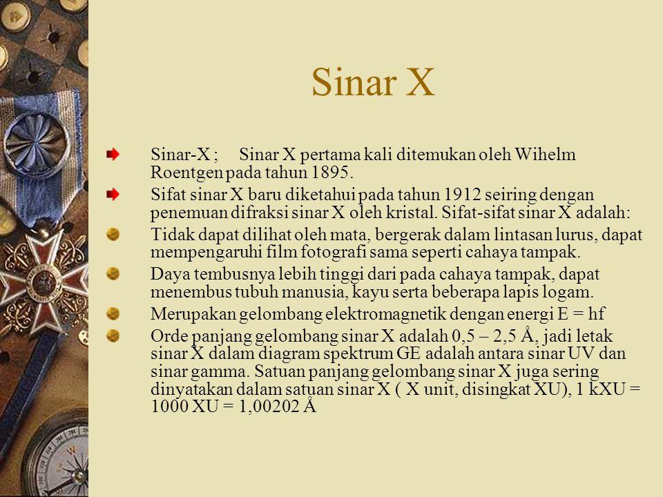 Sinar X Sinar-X ;Sinar X pertama kali ditemukan oleh Wihelm Roentgen pada tahun 1895.