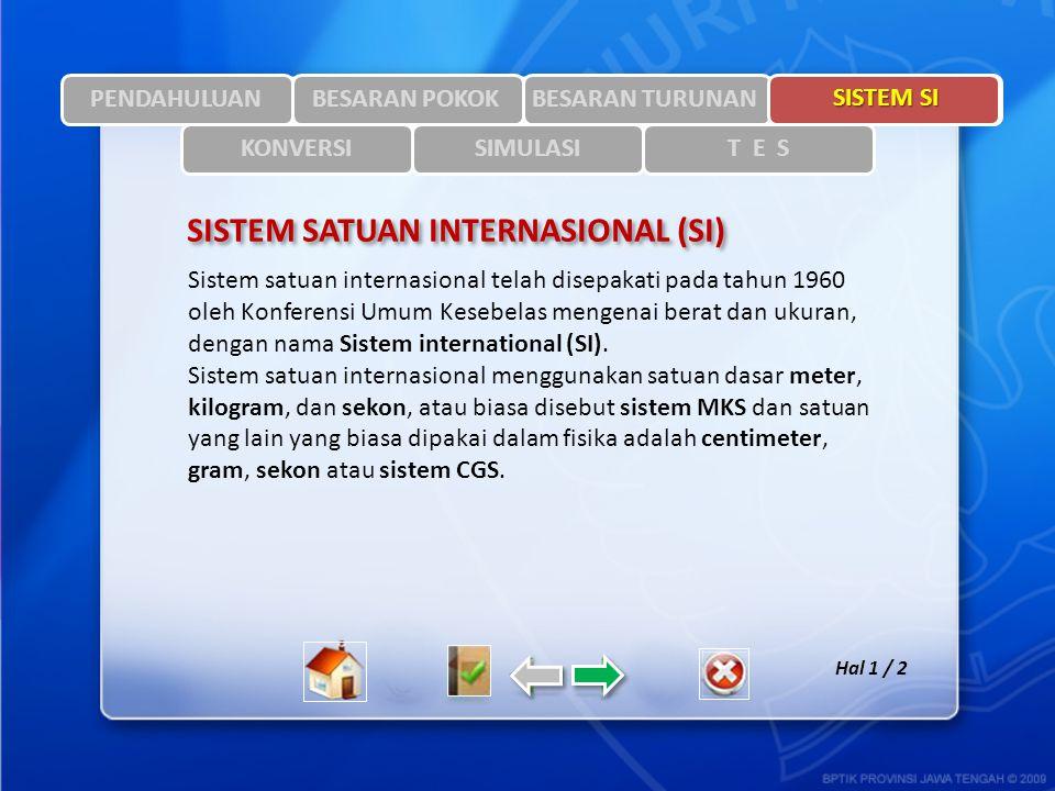SISTEM SI Hal 1 / 2 PENDAHULUANBESARAN TURUNAN Sistem satuan internasional telah disepakati pada tahun 1960 oleh Konferensi Umum Kesebelas mengenai be