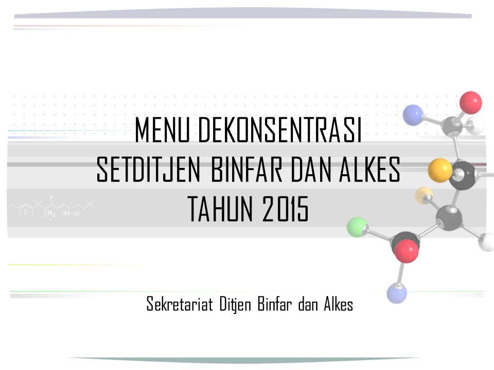 MENU DEKONSENTRASI SETDITJEN BINFAR DAN ALKES TAHUN 2015 Sekretariat Ditjen Binfar dan Alkes