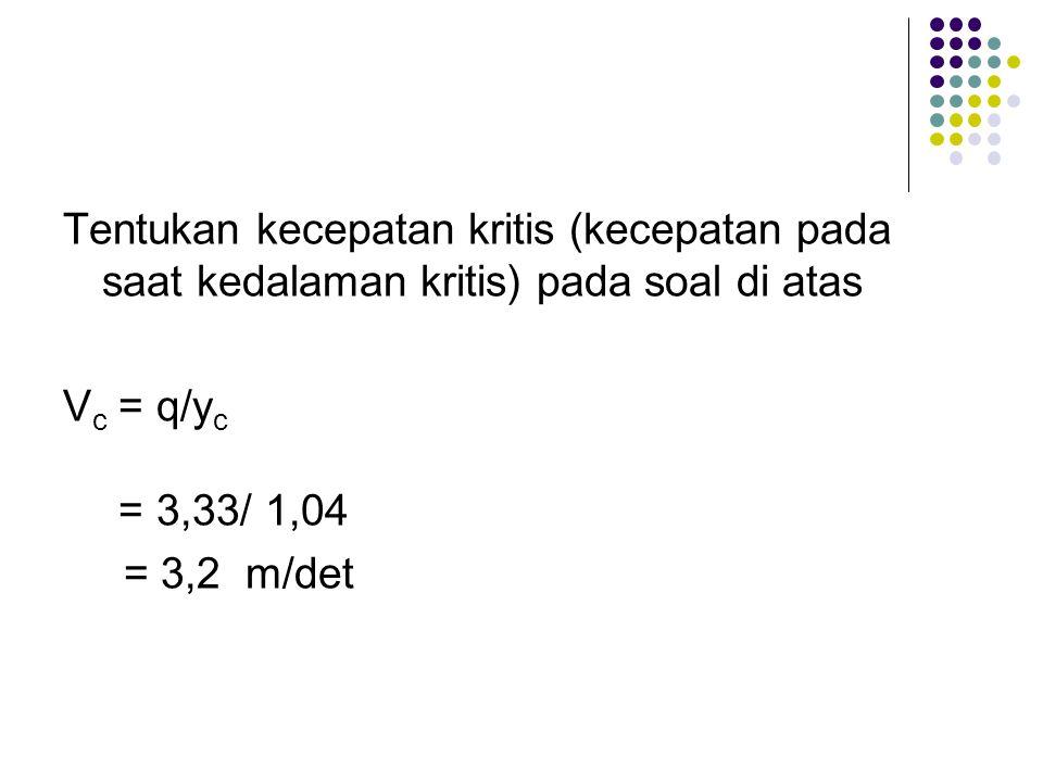 Tentukan kecepatan kritis (kecepatan pada saat kedalaman kritis) pada soal di atas V c = q/y c = 3,33/ 1,04 = 3,2 m/det