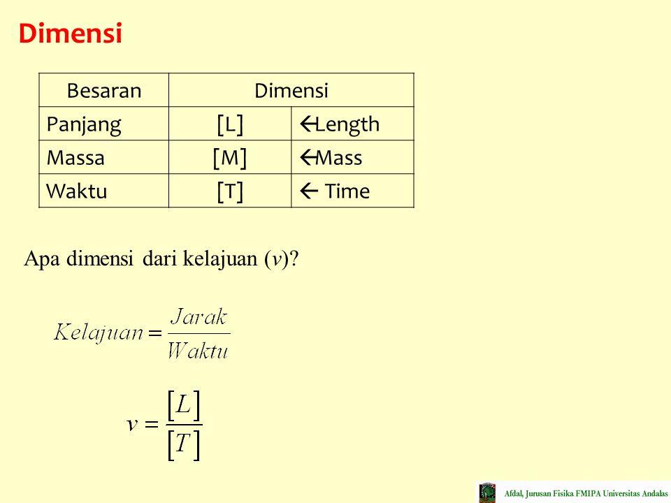 Dimensi BesaranDimensi Panjang[L]  Length Massa[M]  Mass Waktu[T]  Time Apa dimensi dari kelajuan (v)?