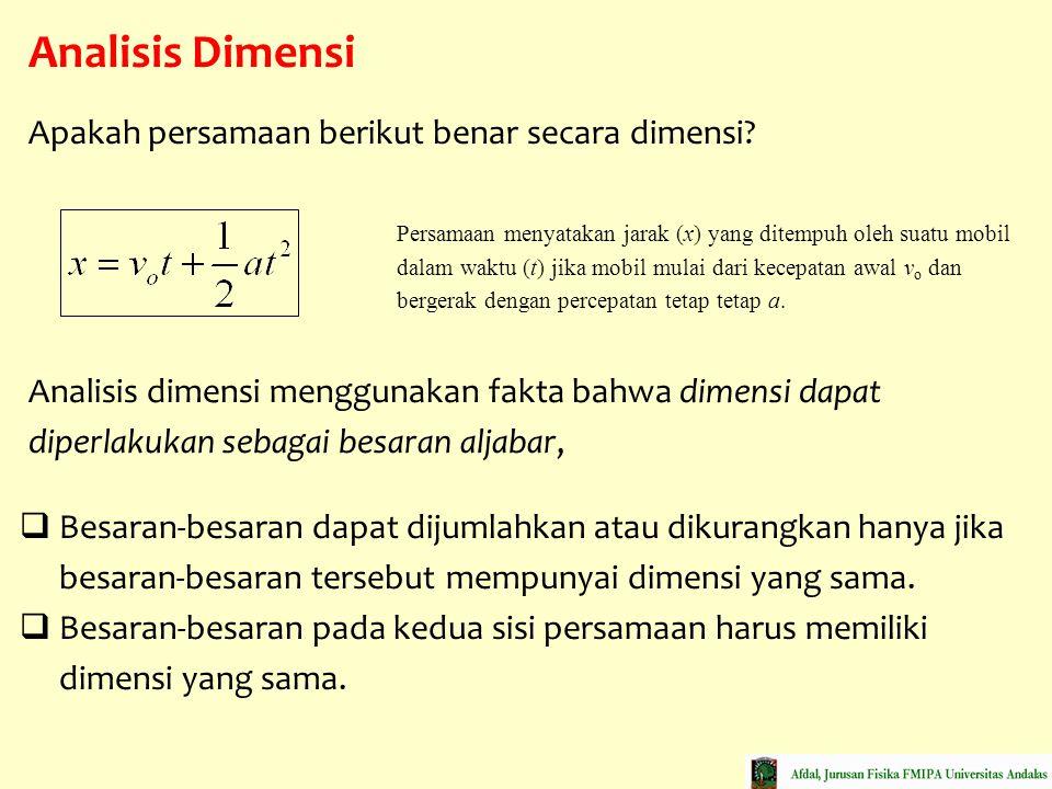 Analisis Dimensi  Besaran-besaran dapat dijumlahkan atau dikurangkan hanya jika besaran-besaran tersebut mempunyai dimensi yang sama.  Besaran-besar